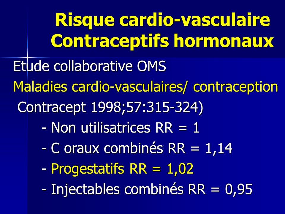 Risque cardio-vasculaire Contraceptifs hormonaux Risque cardio-vasculaire Contraceptifs hormonaux Etude collaborative OMS Maladies cardio-vasculaires/