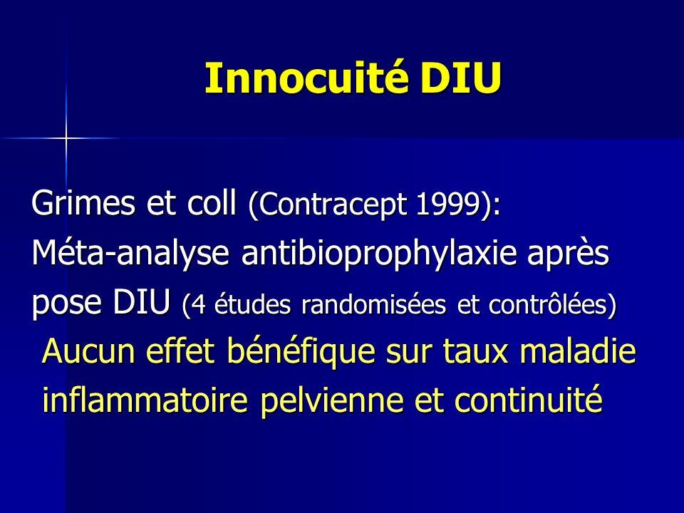 Innocuité DIU Grimes et coll (Contracept 1999): Méta-analyse antibioprophylaxie après pose DIU (4 études randomisées et contrôlées) Aucun effet bénéfique sur taux maladie Aucun effet bénéfique sur taux maladie inflammatoire pelvienne et continuité inflammatoire pelvienne et continuité