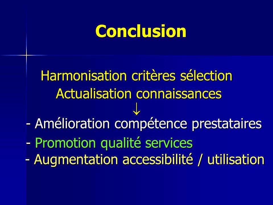 Conclusion Harmonisation critères sélection Actualisation connaissances Actualisation connaissances - Amélioration compétence prestataires - Améliorat