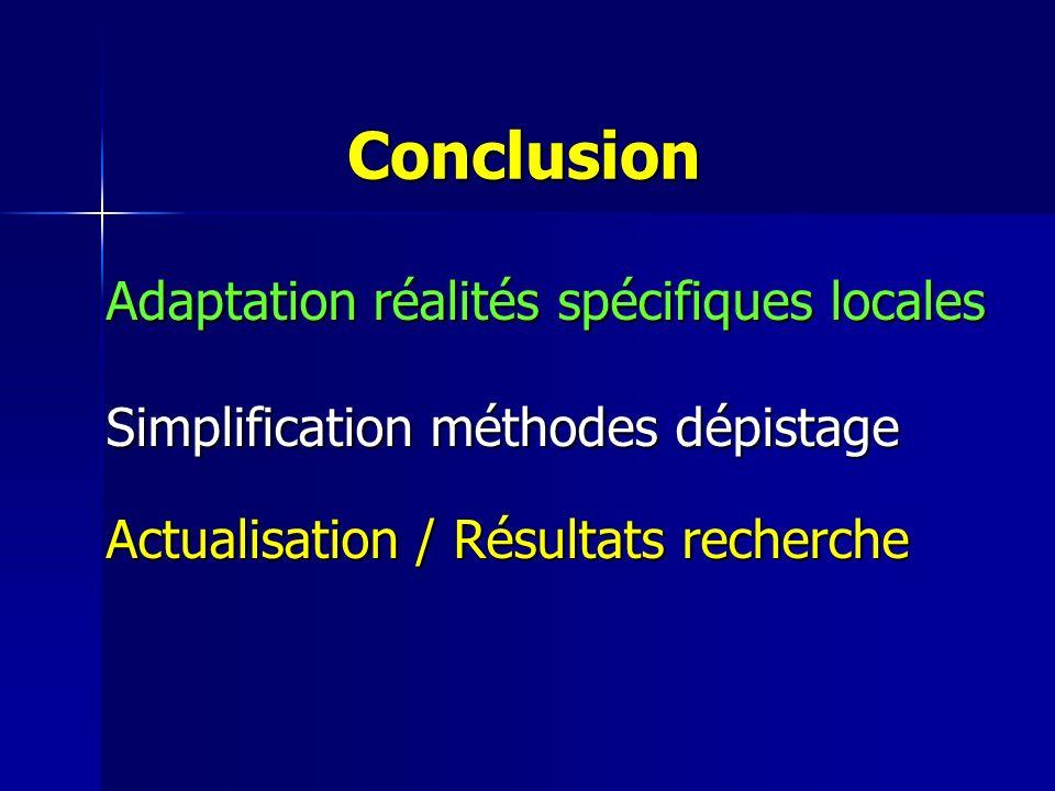 Conclusion Adaptation réalités spécifiques locales Adaptation réalités spécifiques locales Simplification méthodes dépistage Simplification méthodes dépistage Actualisation / Résultats recherche Actualisation / Résultats recherche