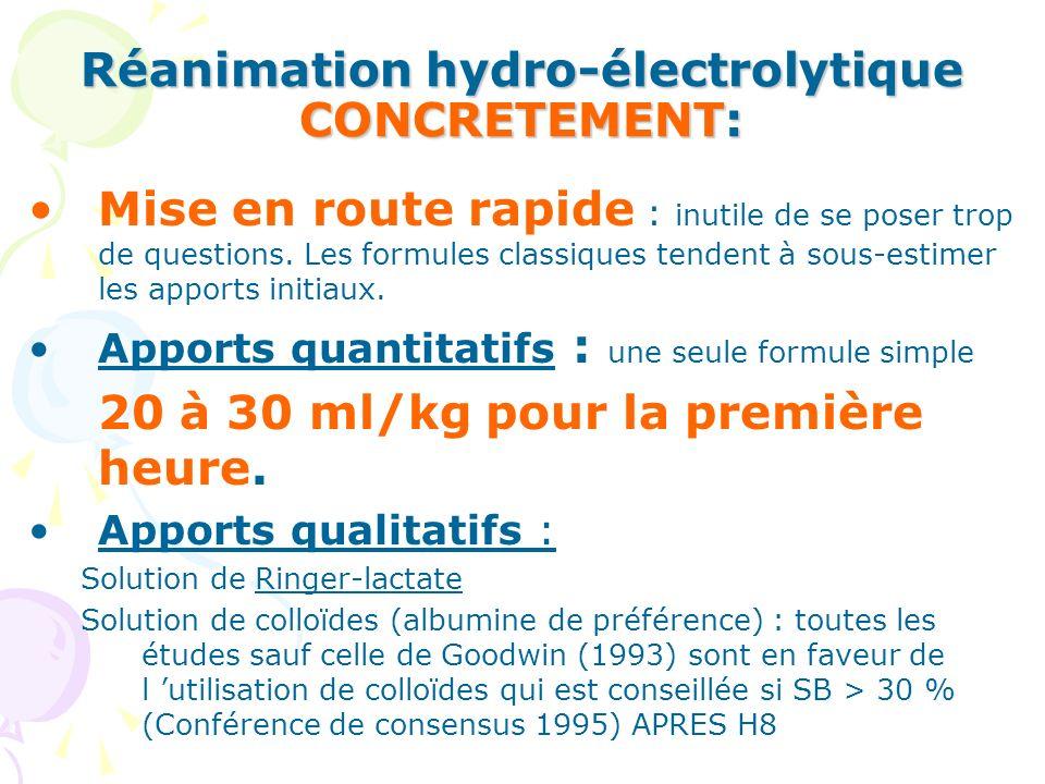 Réanimation hydro électrolytique Actuellement, dans les Centres de Brûlés Formule dEVANS, avec colloïdes après H8 (2ml X Kg X %) + 2000ml de base J1: