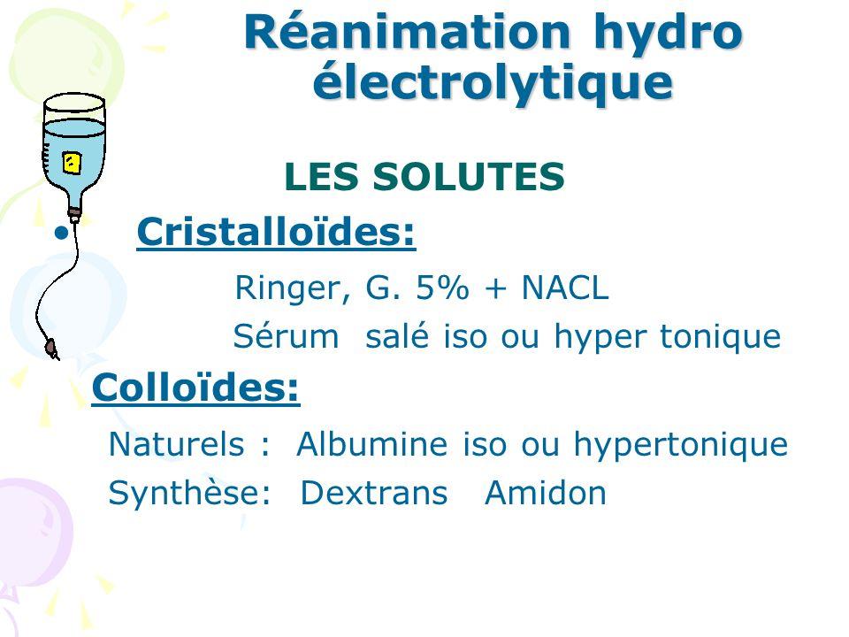 Réanimation hydro électrolytique LES SOLUTES Cristalloïdes: Ringer, G.