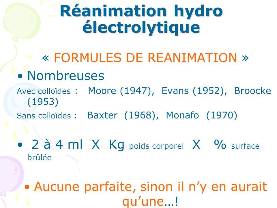 Réanimation hydro électrolytique « FORMULES DE REANIMATION » Nombreuses Avec colloïdes : Moore (1947), Evans (1952), Broocke (1953) Sans colloïdes : Baxter (1968), Monafo (1970) 2 à 4 ml X Kg poids corporel X % surface brûlée Aucune parfaite, sinon il ny en aurait quune…!