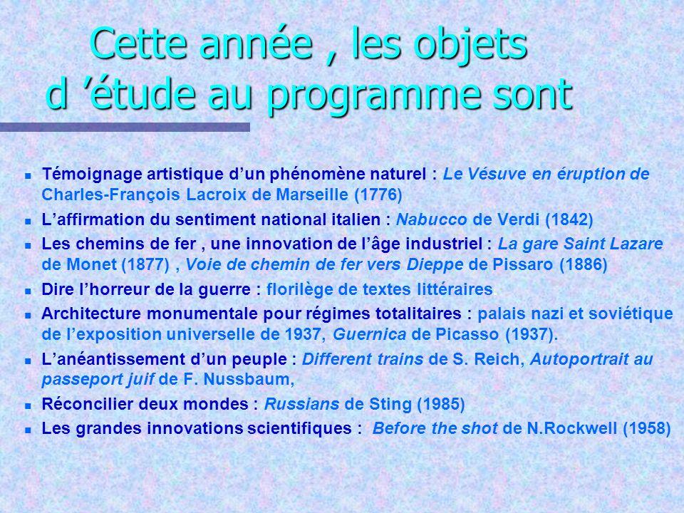 Cette année, les objets d étude au programme sont n n Témoignage artistique dun phénomène naturel : Le Vésuve en éruption de Charles-François Lacroix