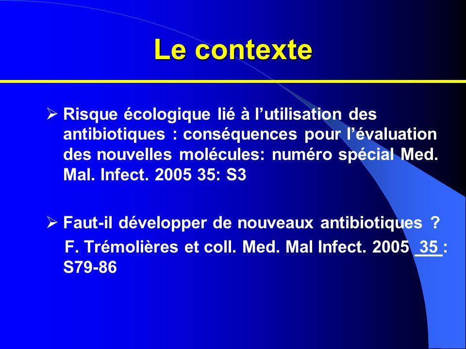 Le contexte Risque écologique lié à lutilisation des antibiotiques : conséquences pour lévaluation des nouvelles molécules: numéro spécial Med. Mal. I
