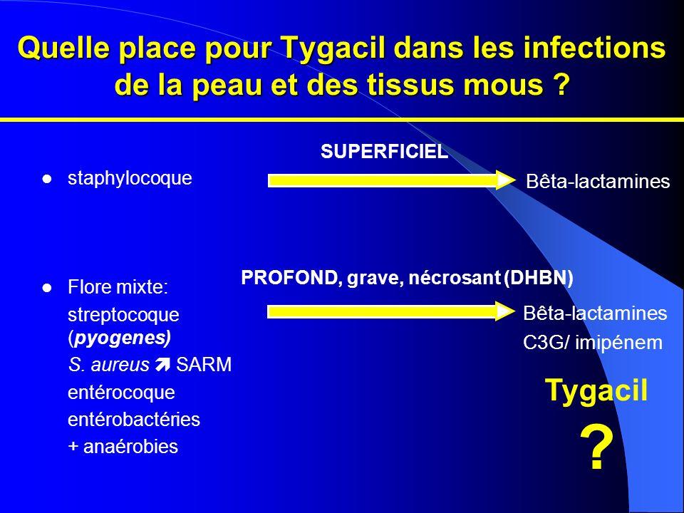 staphylocoque Flore mixte: streptocoque (pyogenes) S. aureus SARM entérocoque entérobactéries + anaérobies Bêta-lactamines C3G/ imipénem SUPERFICIEL P