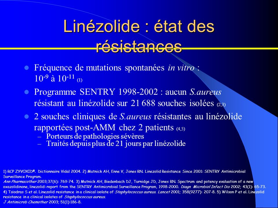 Fréquence de mutations spontanées in vitro : 10 -9 à 10 -11 (1) Programme SENTRY 1998-2002 : aucun S.aureus résistant au linézolide sur 21 688 souches
