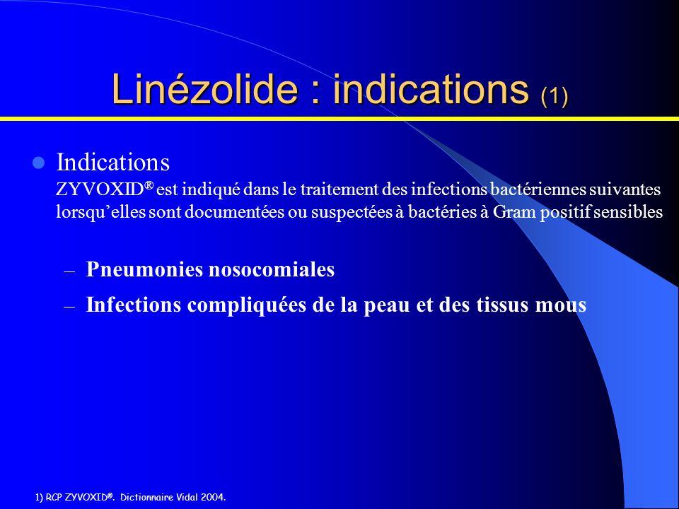 Indications ZYVOXID ® est indiqué dans le traitement des infections bactériennes suivantes lorsquelles sont documentées ou suspectées à bactéries à Gr