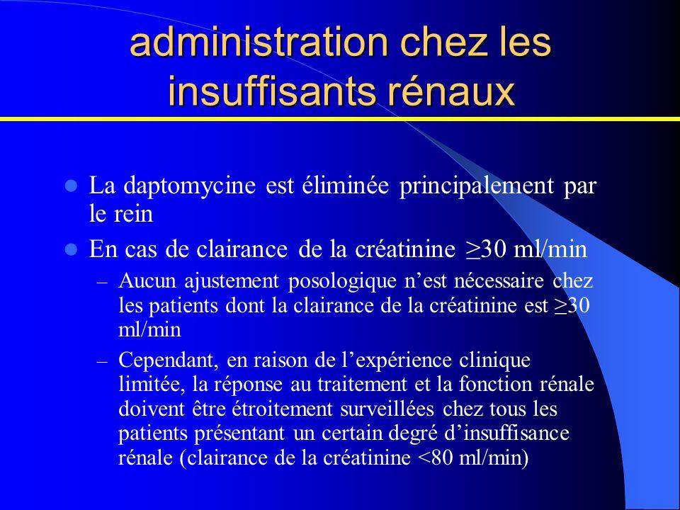 administration chez les insuffisants rénaux La daptomycine est éliminée principalement par le rein En cas de clairance de la créatinine 30 ml/min – Au