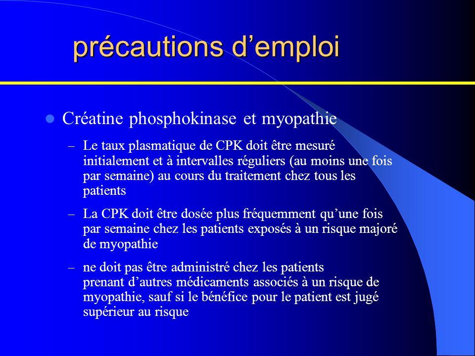 précautions demploi Créatine phosphokinase et myopathie – Le taux plasmatique de CPK doit être mesuré initialement et à intervalles réguliers (au moin