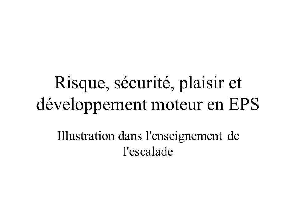 Risque, sécurité, plaisir et développement moteur en EPS Illustration dans l'enseignement de l'escalade
