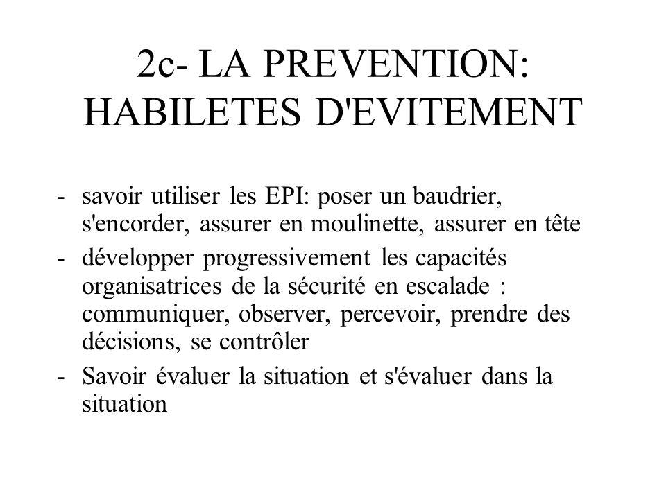 2c- LA PREVENTION: HABILETES D'EVITEMENT -savoir utiliser les EPI: poser un baudrier, s'encorder, assurer en moulinette, assurer en tête -développer p