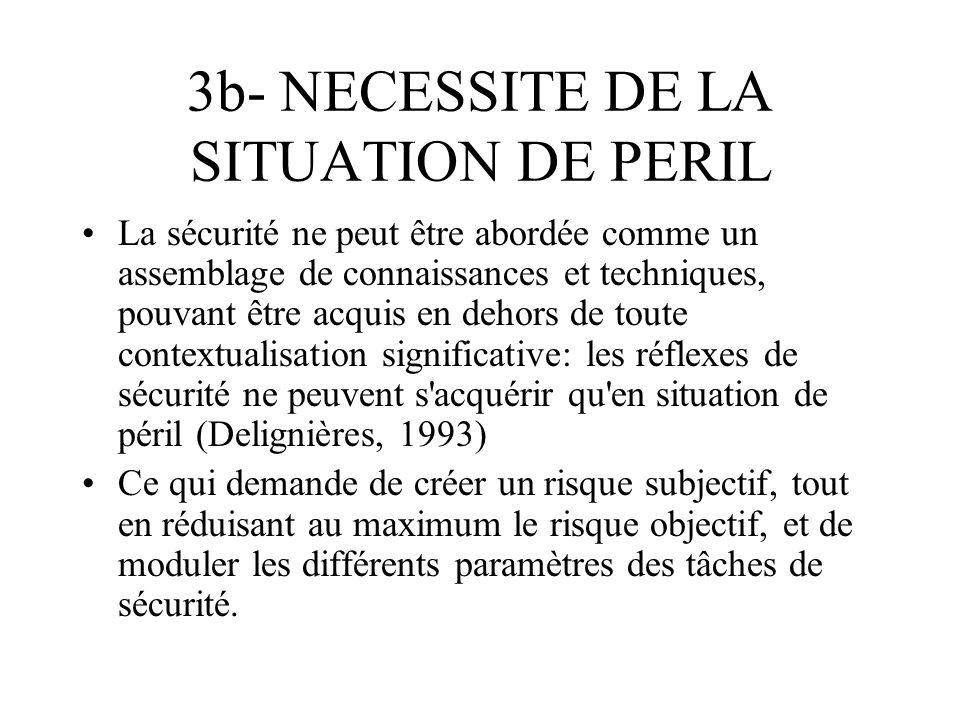 3b- NECESSITE DE LA SITUATION DE PERIL La sécurité ne peut être abordée comme un assemblage de connaissances et techniques, pouvant être acquis en deh