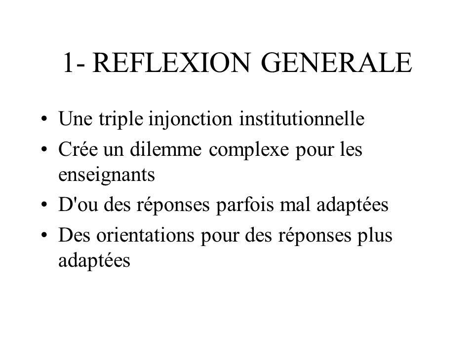 1- REFLEXION GENERALE Une triple injonction institutionnelle Crée un dilemme complexe pour les enseignants D'ou des réponses parfois mal adaptées Des
