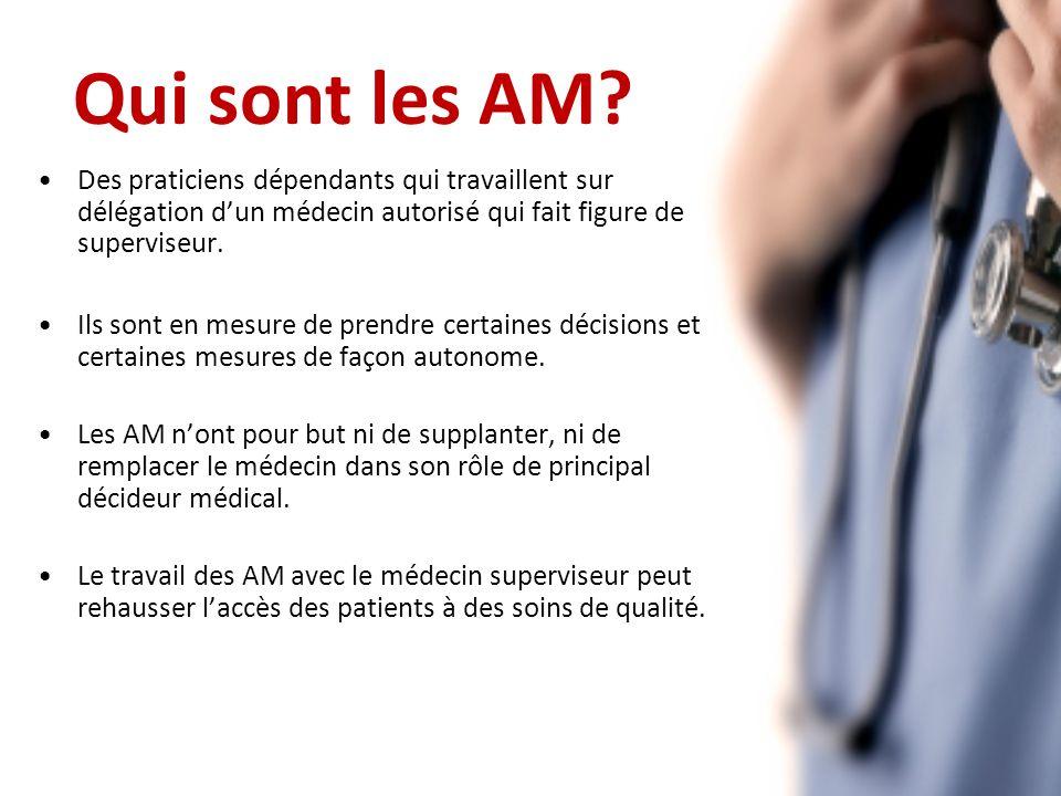Des praticiens dépendants qui travaillent sur délégation dun médecin autorisé qui fait figure de superviseur.