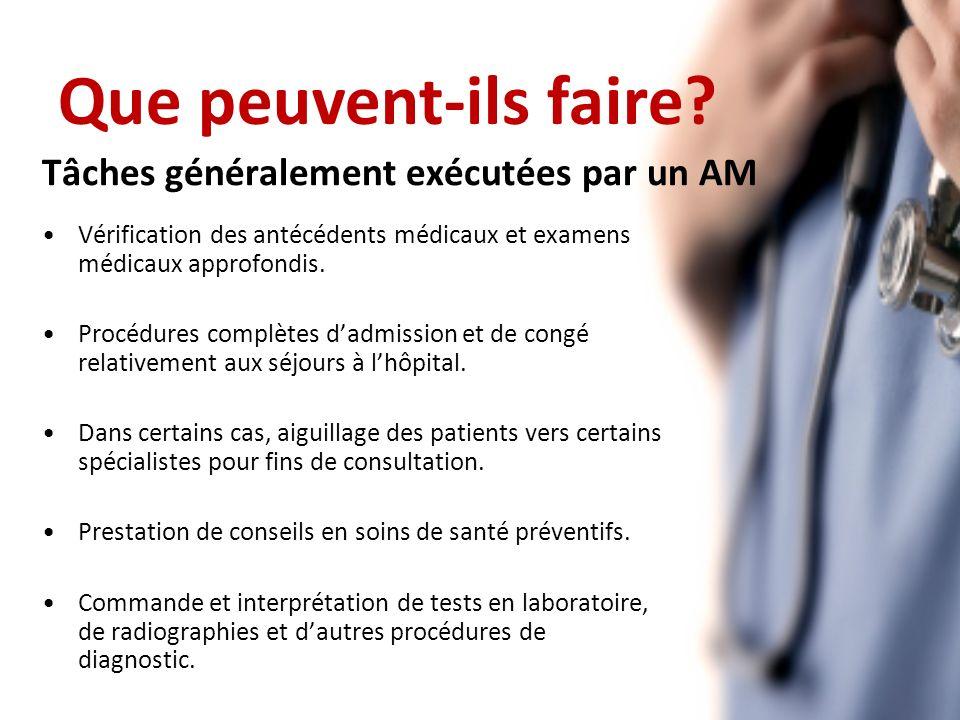 Tâches généralement exécutées par un AM Vérification des antécédents médicaux et examens médicaux approfondis.
