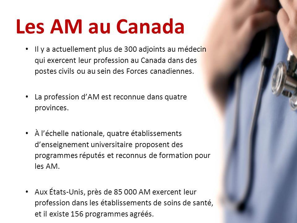 Les AM au Canada Il y a actuellement plus de 300 adjoints au médecin qui exercent leur profession au Canada dans des postes civils ou au sein des Forces canadiennes.