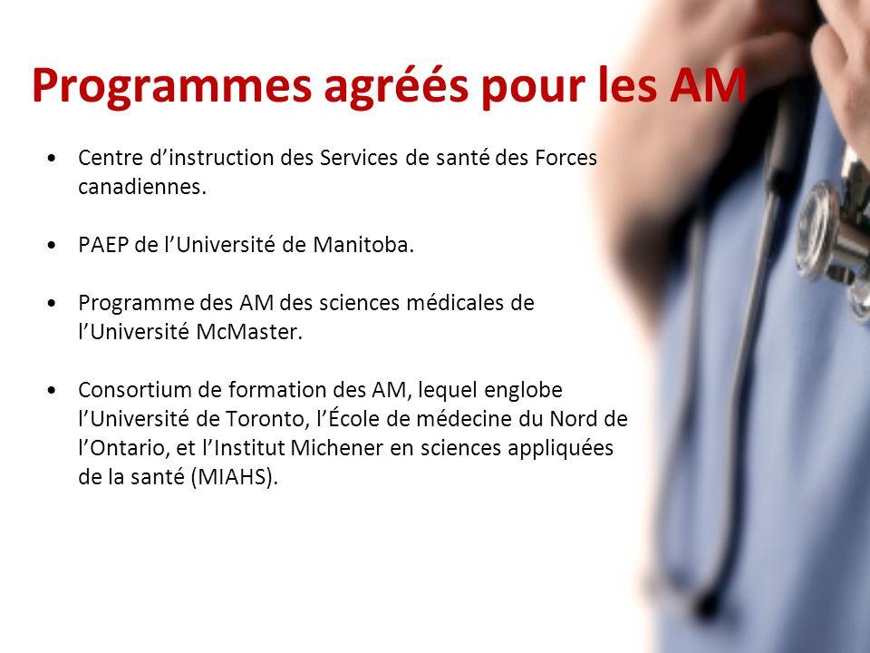 Programmes agréés pour les AM Centre dinstruction des Services de santé des Forces canadiennes.