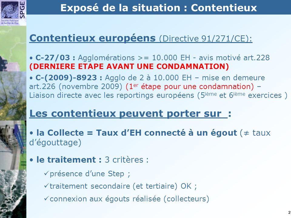 2 Contentieux européens (Directive 91/271/CE): C-27/03 : Agglomérations >= 10.000 EH - avis motivé art.228 (DERNIERE ETAPE AVANT UNE CONDAMNATION) C-(2009)-8923 : Agglo de 2 à 10.000 EH – mise en demeure art.226 (novembre 2009) (1 er étape pour une condamnation) – Liaison directe avec les reportings européens (5 ième et 6 ième exercices ) Les contentieux peuvent porter sur : la Collecte = Taux dEH connecté à un égout ( taux dégouttage) le traitement : 3 critères : présence dune Step ; traitement secondaire (et tertiaire) OK ; connexion aux égouts réalisée (collecteurs) Exposé de la situation : Contentieux