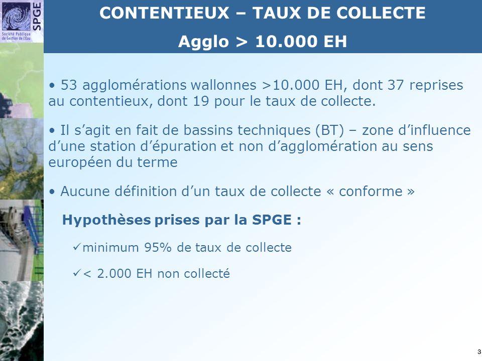 3 53 agglomérations wallonnes >10.000 EH, dont 37 reprises au contentieux, dont 19 pour le taux de collecte.