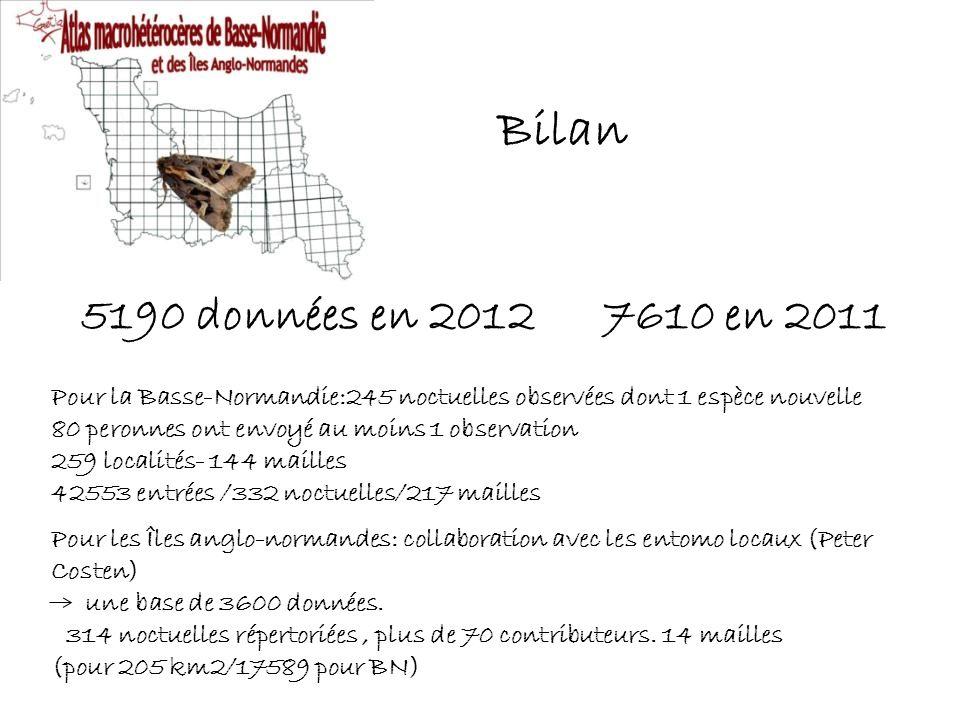 5190 données en 20127610 en 2011 Pour la Basse-Normandie:245 noctuelles observées dont 1 espèce nouvelle 80 peronnes ont envoyé au moins 1 observation 259 localités- 144 mailles 42553 entrées /332 noctuelles/217 mailles Pour les Îles anglo-normandes: collaboration avec les entomo locaux (Peter Costen) une base de 3600 données.