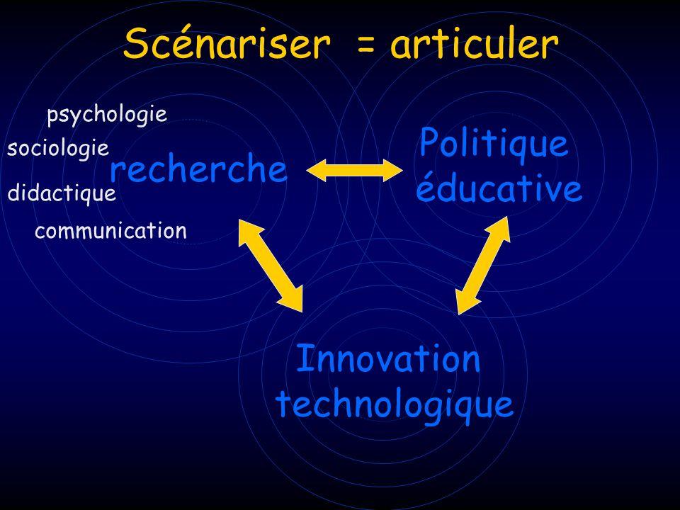 recherche Politique éducative Innovation technologique Scénariser = articuler psychologie didactique communication sociologie