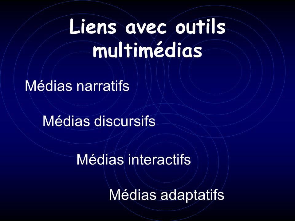 Liens avec outils multimédias Médias narratifs Médias discursifs Médias interactifs Médias adaptatifs