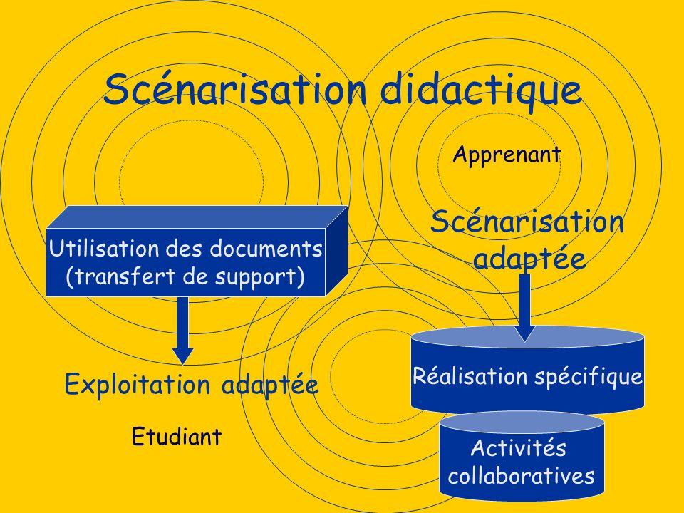 Scénarisation didactique Utilisation des documents (transfert de support) Réalisation spécifique Exploitation adaptée Scénarisation adaptée Apprenant