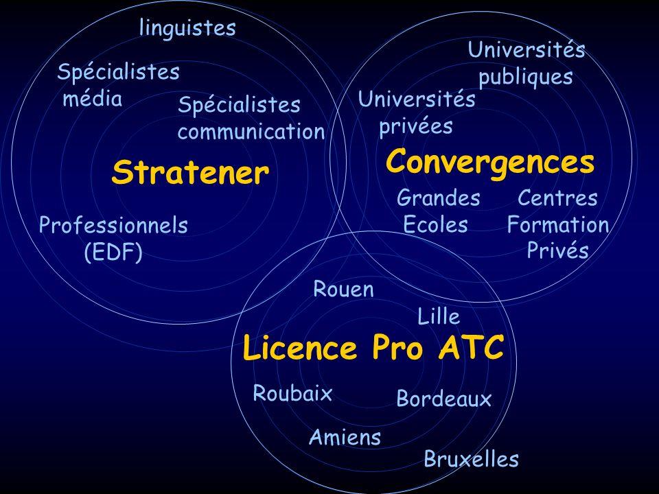 linguistes Stratener Spécialistes communication Professionnels (EDF) Spécialistes média Convergences Universités publiques Universités privées Grandes