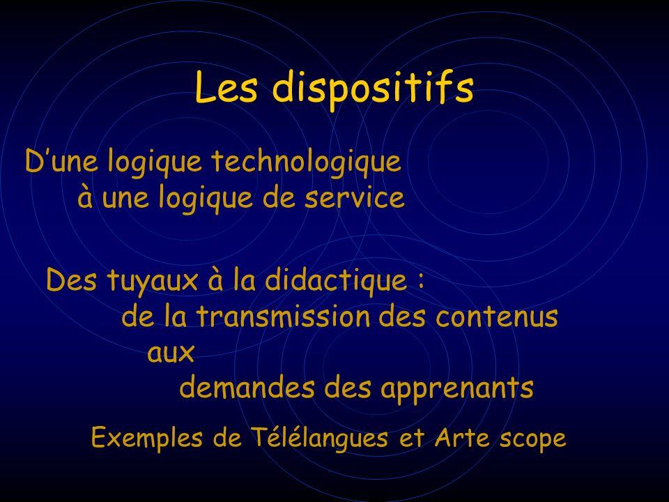 Les dispositifs Dune logique technologique à une logique de service Des tuyaux à la didactique : de la transmission des contenus aux demandes des appr