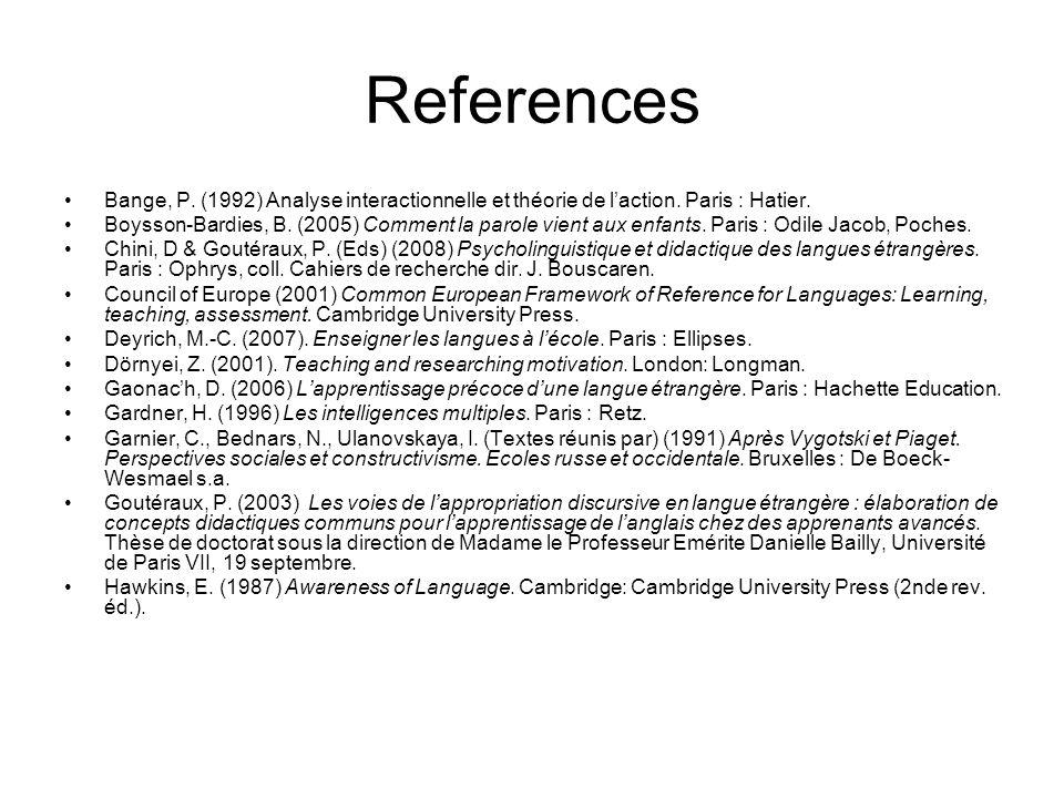 References Bange, P. (1992) Analyse interactionnelle et théorie de laction.
