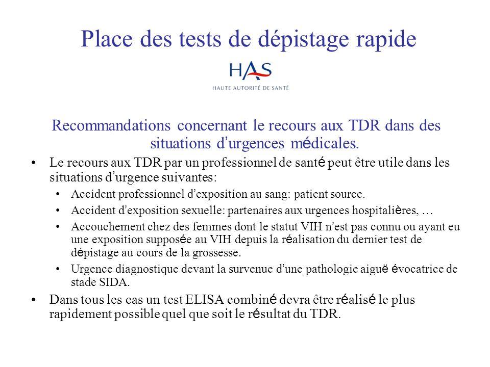 Place des tests de dépistage rapide Recommandations concernant le recours aux TDR dans des situations d urgences m é dicales. Le recours aux TDR par u