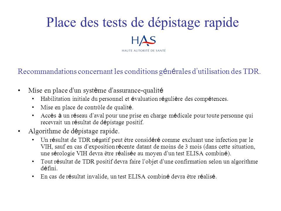Place des tests de dépistage rapide Recommandations concernant les conditions g é n é rales d utilisation des TDR. Mise en place d un syst è me d assu