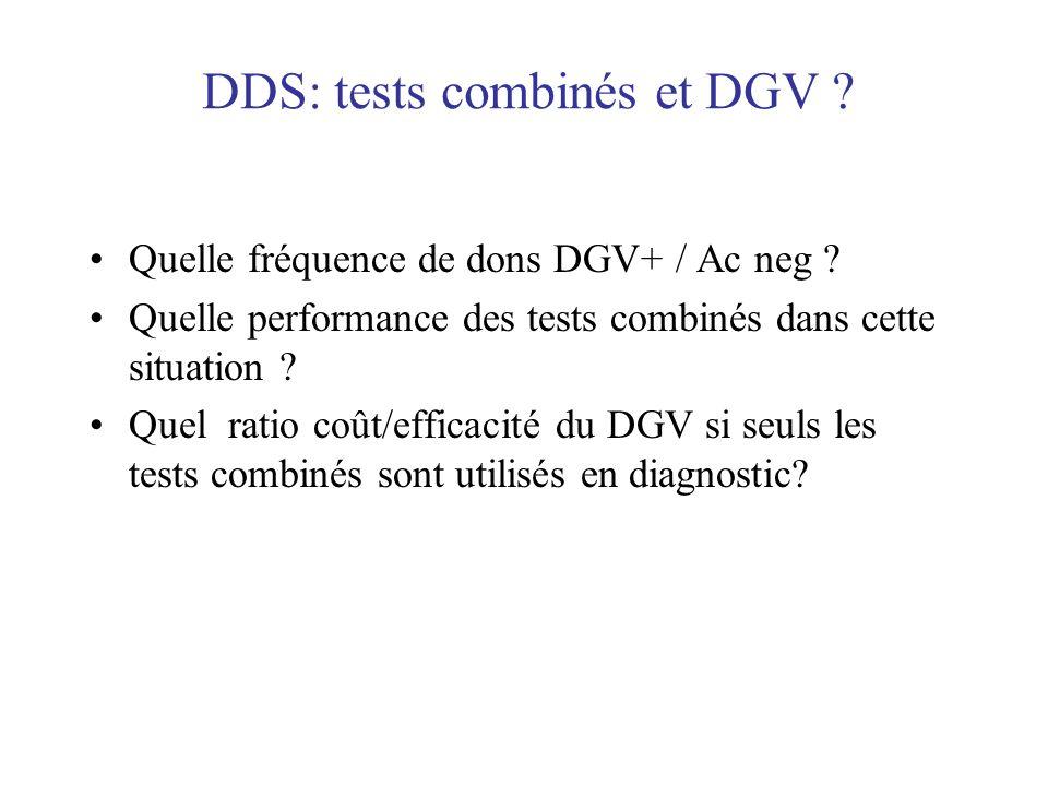 DDS: tests combinés et DGV ? Quelle fréquence de dons DGV+ / Ac neg ? Quelle performance des tests combinés dans cette situation ? Quel ratio coût/eff