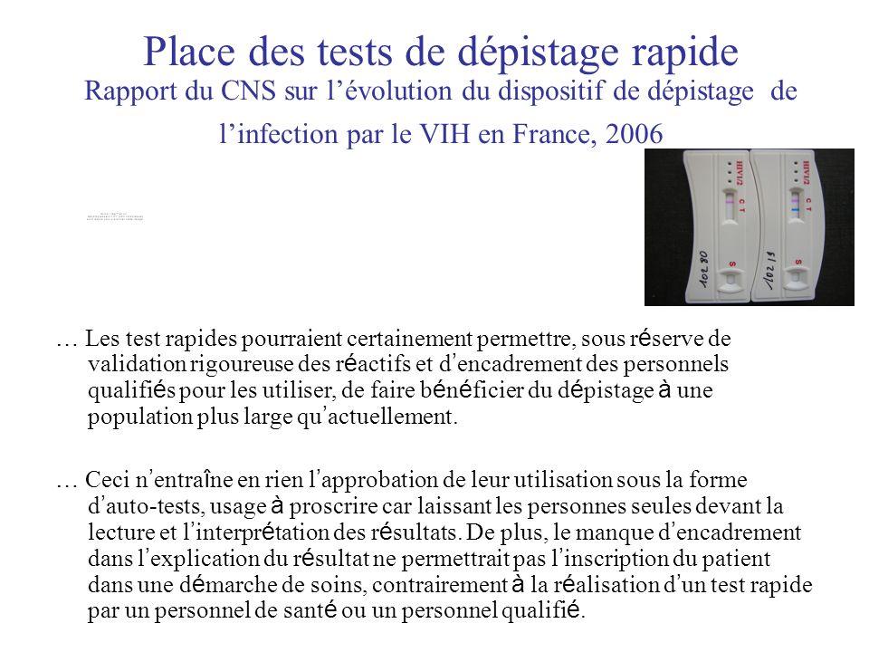 Place des tests de dépistage rapide Rapport du CNS sur lévolution du dispositif de dépistage de linfection par le VIH en France, 2006 … Les test rapides pourraient certainement permettre, sous r é serve de validation rigoureuse des r é actifs et d encadrement des personnels qualifi é s pour les utiliser, de faire b é n é ficier du d é pistage à une population plus large qu actuellement.