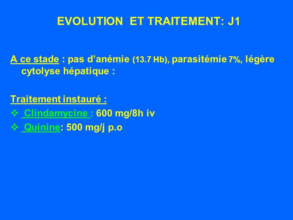 DIAGNOSTIC DE BABESIOSE 7% dhématies parasitées par des trophozoïtes en forme de poire, souvent groupés par 2 formant un angle aigu, parfois en tétrades ( croix de Malte ).