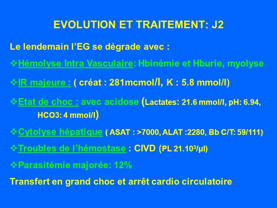 EVOLUTION ET TRAITEMENT: J1 A ce stade : pas danémie (13.7 Hb), parasitémie 7%, légère cytolyse hépatique : Traitement instauré : Clindamycine : 600 mg/8h iv Quinine: 500 mg/j p.o