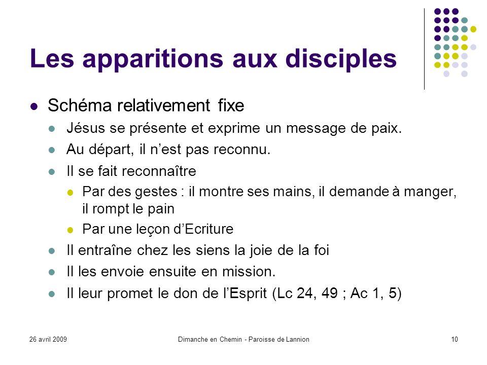 26 avril 2009Dimanche en Chemin - Paroisse de Lannion10 Les apparitions aux disciples Schéma relativement fixe Jésus se présente et exprime un message de paix.