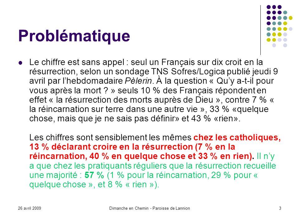 26 avril 2009Dimanche en Chemin - Paroisse de Lannion3 Problématique Le chiffre est sans appel : seul un Français sur dix croit en la résurrection, selon un sondage TNS Sofres/Logica publié jeudi 9 avril par lhebdomadaire Pèlerin.