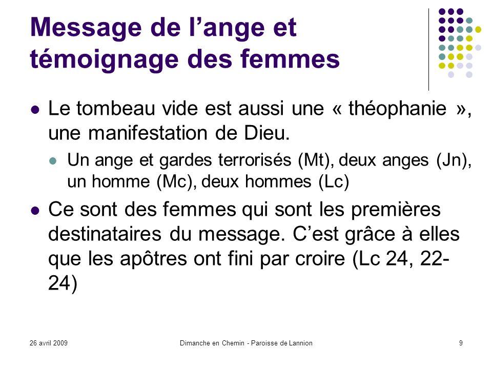 26 avril 2009Dimanche en Chemin - Paroisse de Lannion9 Message de lange et témoignage des femmes Le tombeau vide est aussi une « théophanie », une manifestation de Dieu.