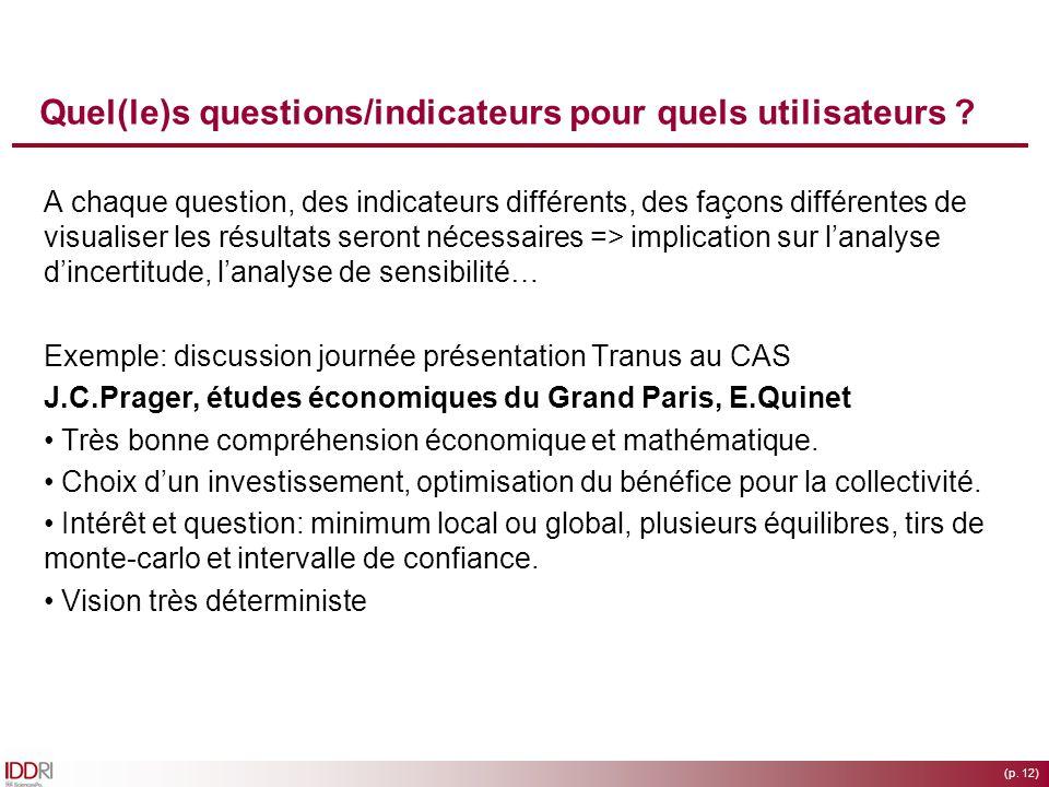 (p. 12) Quel(le)s questions/indicateurs pour quels utilisateurs ? A chaque question, des indicateurs différents, des façons différentes de visualiser