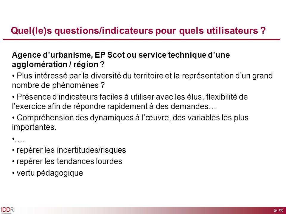 (p. 13) Quel(le)s questions/indicateurs pour quels utilisateurs ? Agence durbanisme, EP Scot ou service technique dune agglomération / région ? Plus i