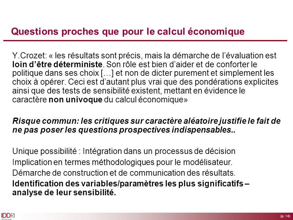 (p. 14) Questions proches que pour le calcul économique Y.Crozet: « les résultats sont précis, mais la démarche de lévaluation est loin dêtre détermin