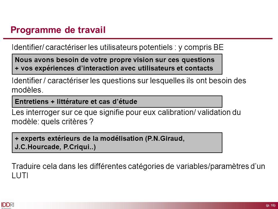 (p. 15) Programme de travail Identifier/ caractériser les utilisateurs potentiels : y compris BE Identifier / caractériser les questions sur lesquelle
