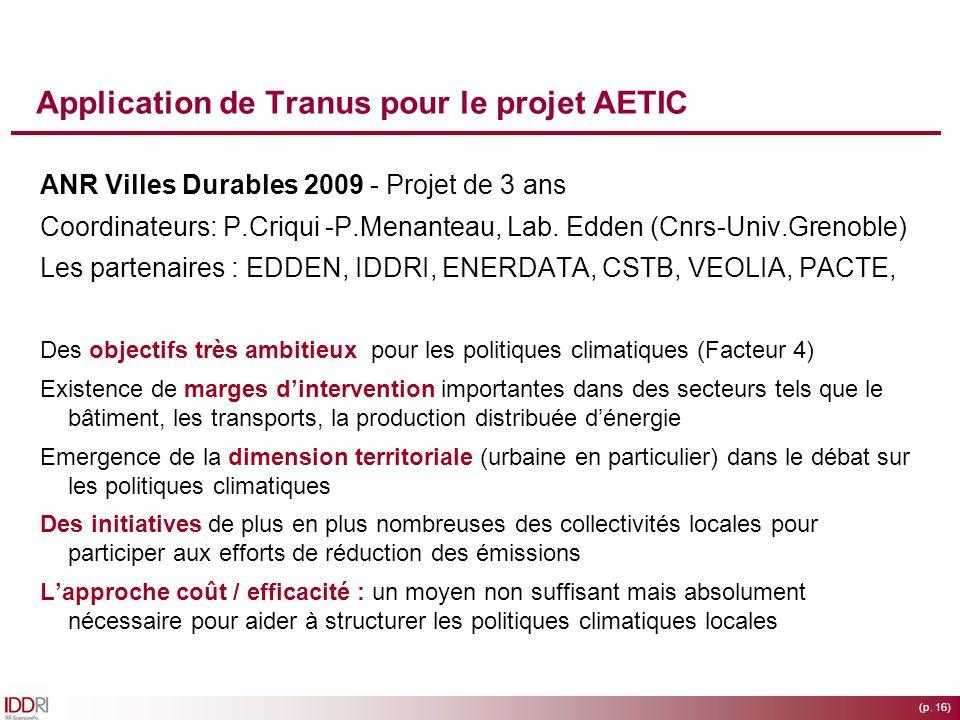 (p. 16) Application de Tranus pour le projet AETIC ANR Villes Durables 2009 - Projet de 3 ans Coordinateurs: P.Criqui -P.Menanteau, Lab. Edden (Cnrs-U