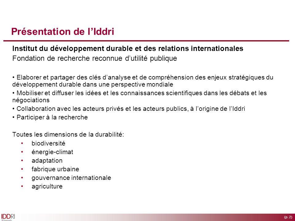 (p. 2) Présentation de lIddri Institut du développement durable et des relations internationales Fondation de recherche reconnue dutilité publique Ela