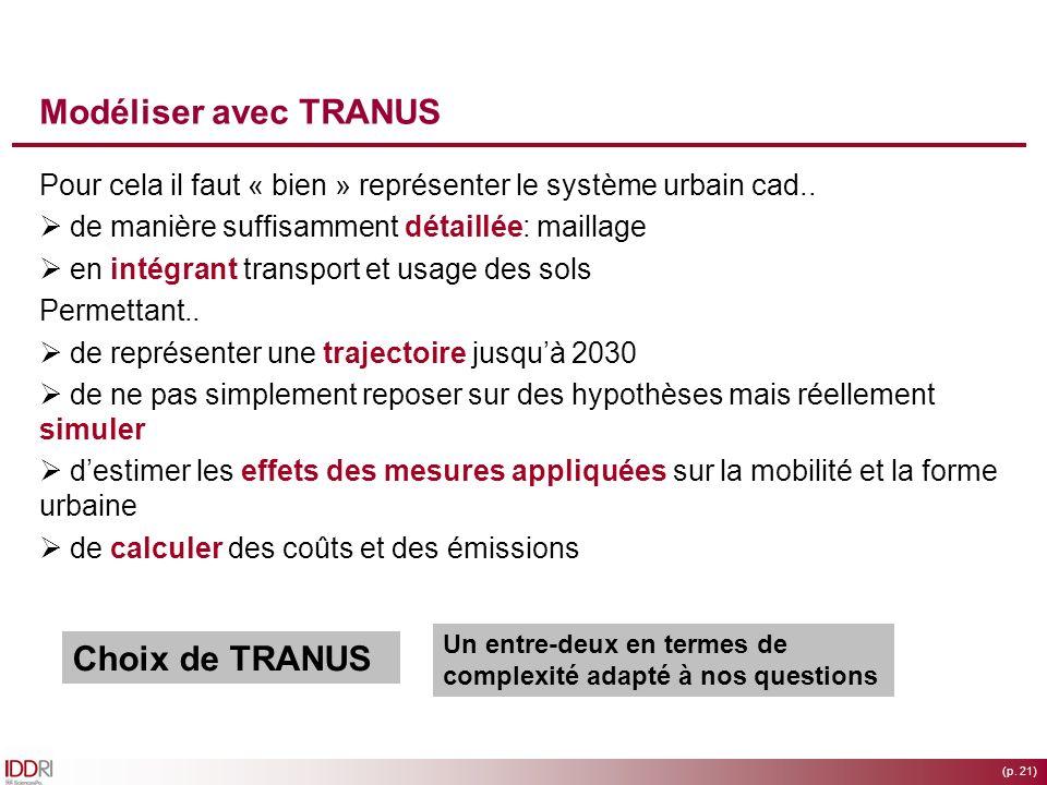(p. 21) Modéliser avec TRANUS Pour cela il faut « bien » représenter le système urbain cad.. de manière suffisamment détaillée: maillage en intégrant