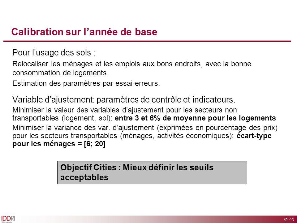 (p. 27) Calibration sur lannée de base Pour lusage des sols : Relocaliser les ménages et les emplois aux bons endroits, avec la bonne consommation de