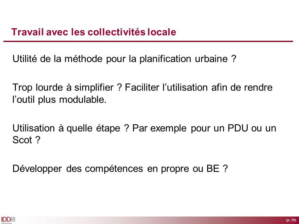 (p. 29) Travail avec les collectivités locale Utilité de la méthode pour la planification urbaine ? Trop lourde à simplifier ? Faciliter lutilisation