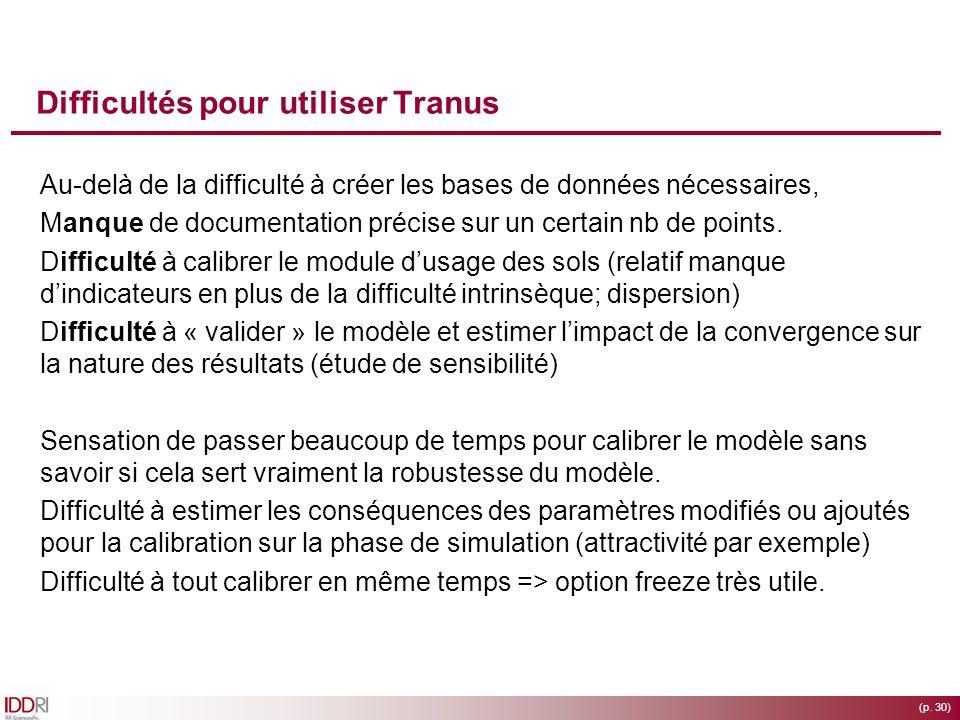 (p. 30) Difficultés pour utiliser Tranus Au-delà de la difficulté à créer les bases de données nécessaires, Manque de documentation précise sur un cer